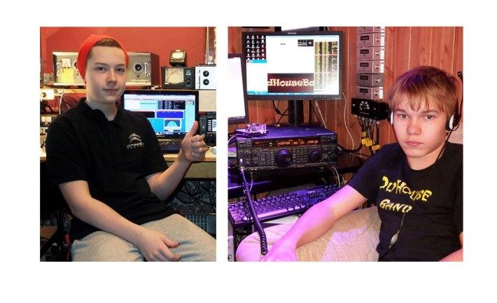 Arttu ja Niko radioamatööriasemillaan.