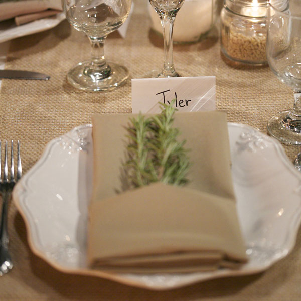 Octagon plate with special folded napkin table set up