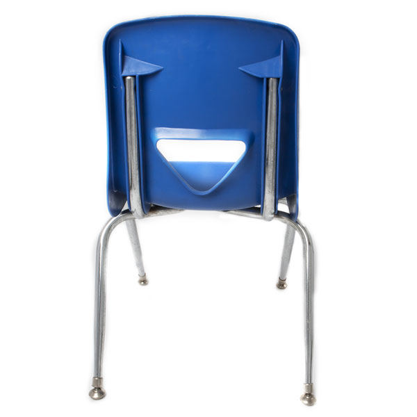 Blue child's chair - back view