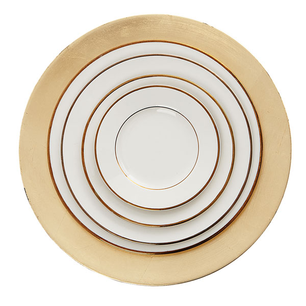 Gold rimmed plates - various sizes on gold charger
