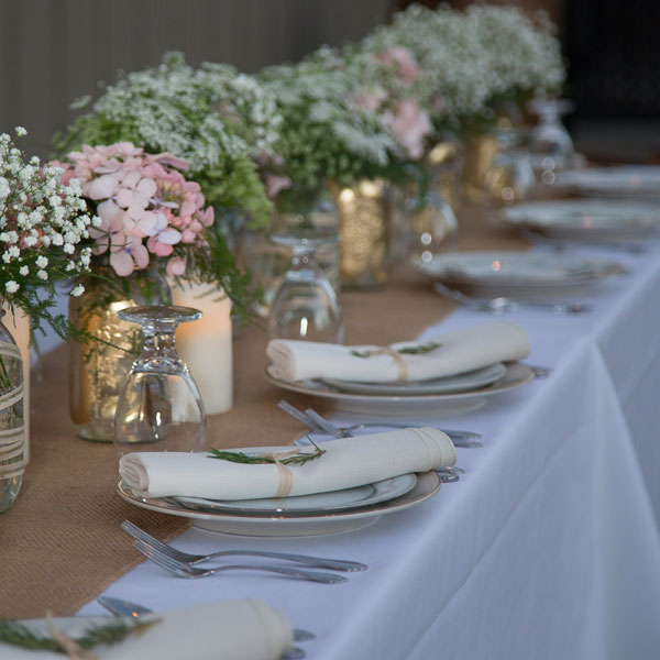 Inspiration - rectangular table with china and cutlery