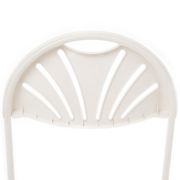 Back view-White fan back folding chair