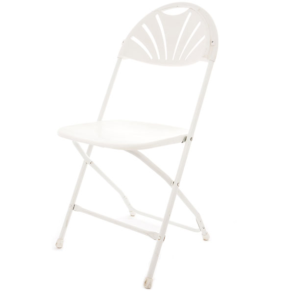 White fan back folding chair