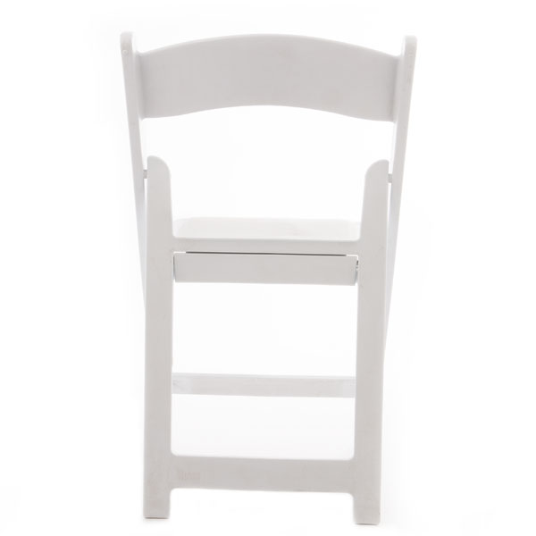 Back view of white resin padded folding chair