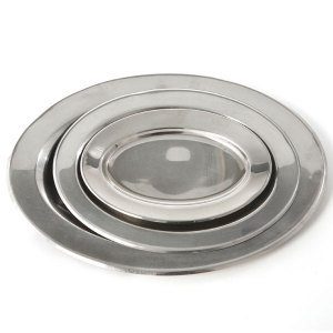 Oval silver metal trays in various sizes