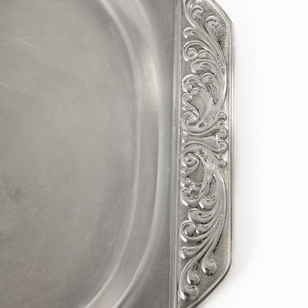 Silver ornate tray - detail