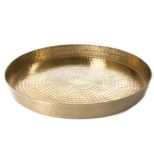 Round Gold Hammered tray