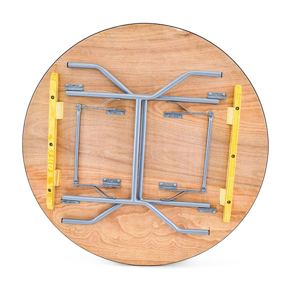 48 inch round plywood folding banquet table-bottom view
