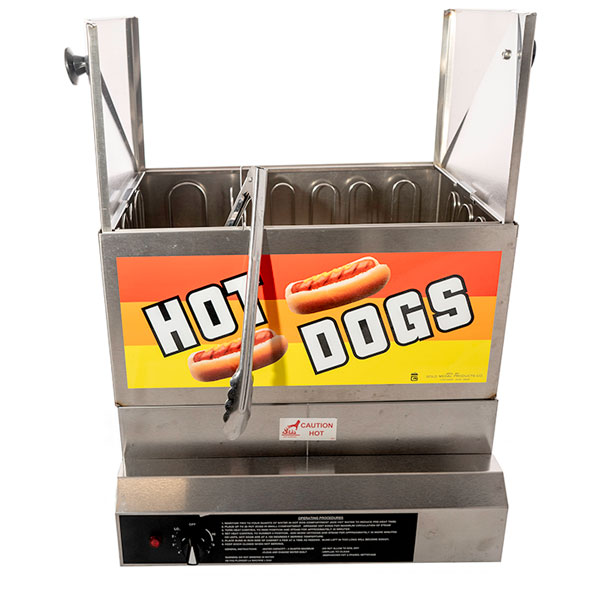 Hot dog steamer open