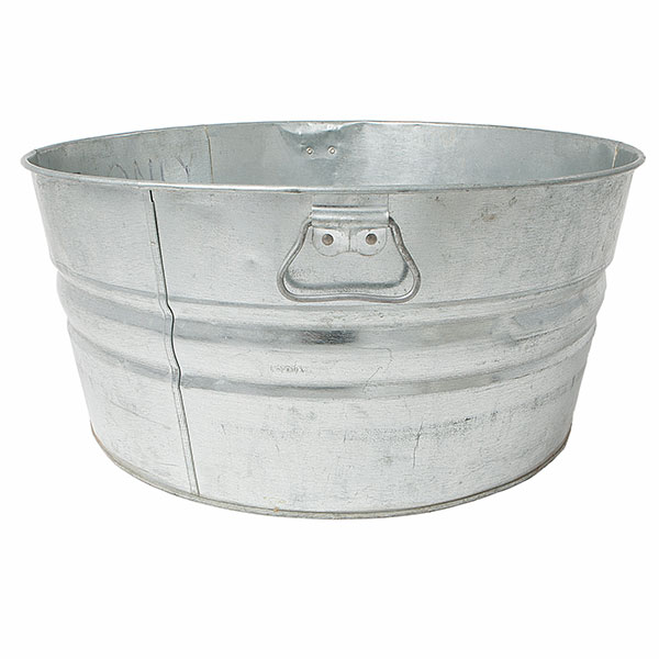 Round galvanized wash tub