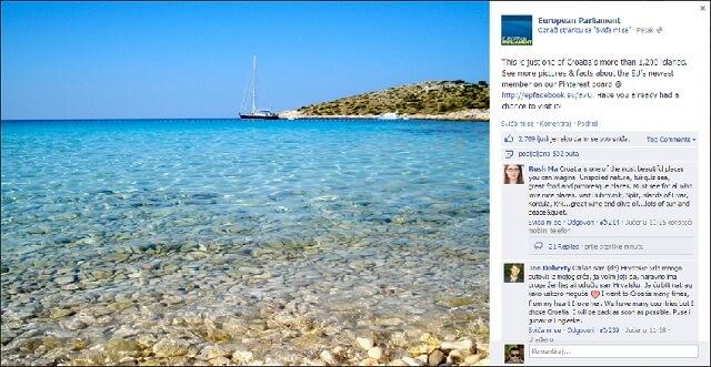Europski parlament na Facebooku izreklamirao Hrvatsku