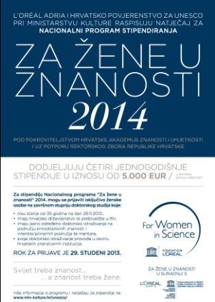 Još dva dana traje natječaj za stipendije ' Za žene u znanosti' u iznosu od 5000 eura