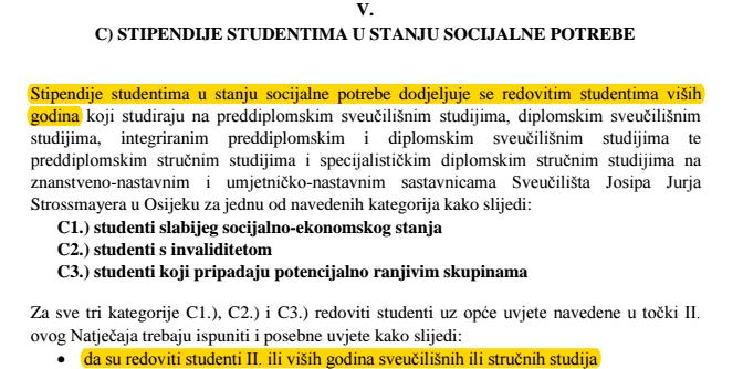 Brucoši slabijeg socijalnog statusa diskriminirani natječajem Sveučilišta u Osijeku