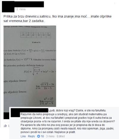 Bez srama i skrivanja identiteta student tražio da mu se za novce riješi ispit usred pisanja