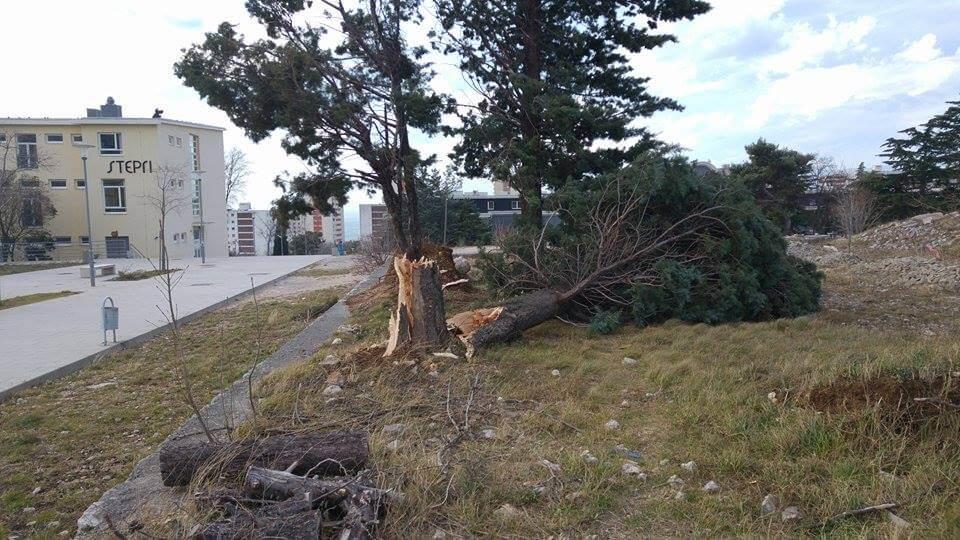 Snažna oluja otkinula vrata riječkog studentskog doma: Donosimo razarajuće fotografije
