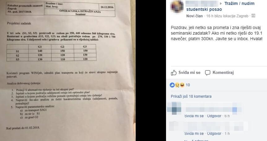 I to nam je budućnost zemlje: Studentica nudi 300 kuna onome tko joj riješi zadatak s Fakulteta prometnih znanosti