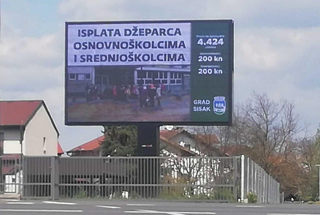 Potresom pogođeni Sisak uoči izbora plaća reklamu u kojoj se Grad hvali da učenicima daje 200 kn