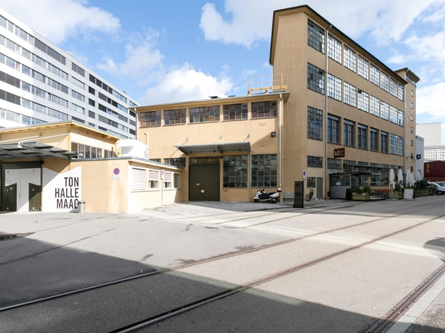 Exterior view of the Tonhalle Maag - an old industrial building.