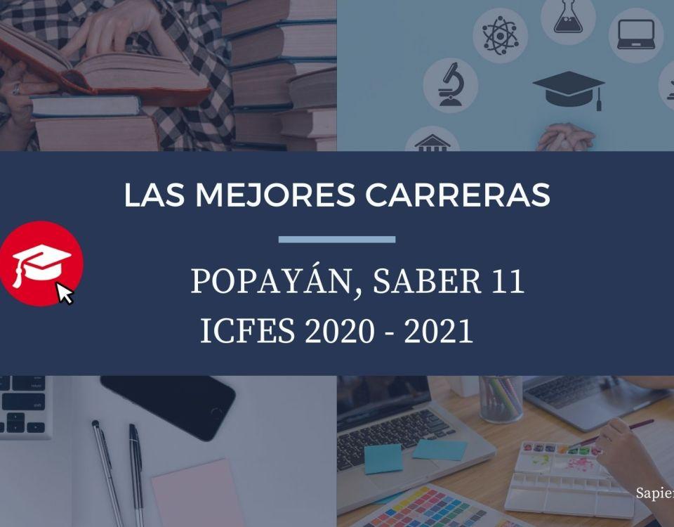 Las mejores carreras Popayán, saber 11, Icfes 2020-2021