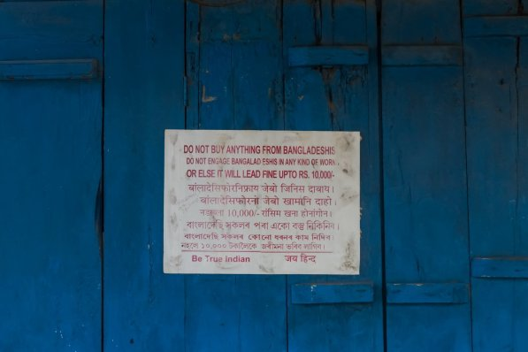 A poster put up on the doors of a shop in Bazaar Road, Kokrajhar, Assam warns locals against buying from or engaging Bangladeshi migrants in any kind of work.