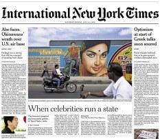 International New York Times, Asia Edition, July 04-05, 2015.
