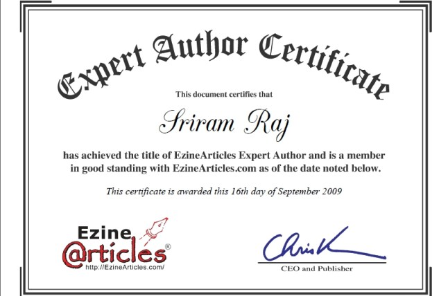 Ezine Expert Author Achievement