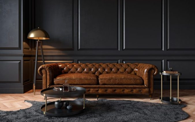 masculine interior with leather chesterfield