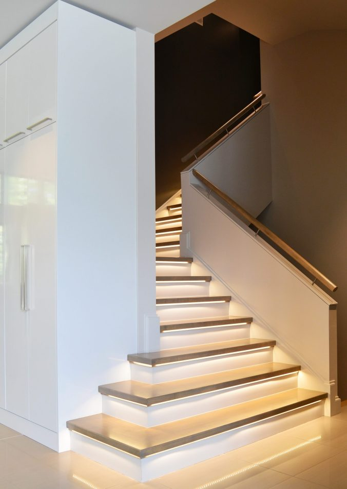LED lighting on stairs