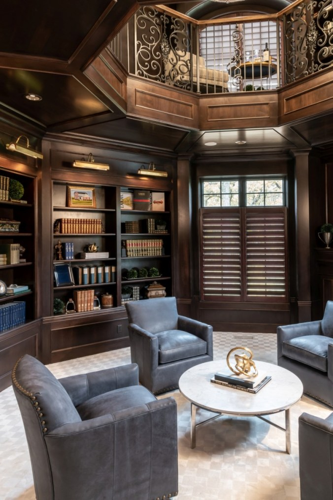 paneled library with accent lighting