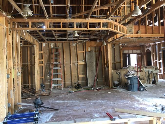 Villa dining room renovation before drywall