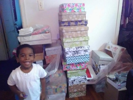 Gift boxes for Mother's day at women's shelter.