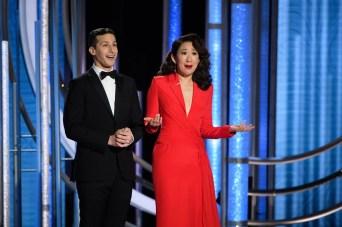 Os mestres de cerimônia do Globo de Ouro 2019: Sandra Oh e Andy Samberg (Foto: Divulgação / Crédito: HFPA Photographer).