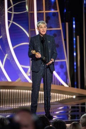 Ellen DeGeneres recebeu o Carol Burnett Award (Foto: Divulgação / Crédito: HFPA Photographer).