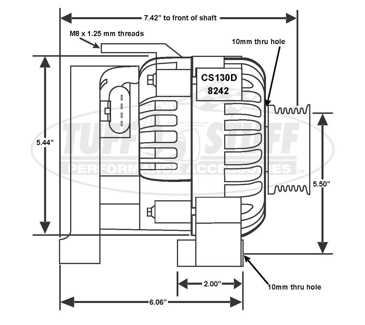 Chevrolet Ls1 175 Amp Alternator 6 Groove Pulley Polished
