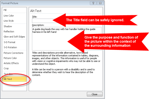 example of alt text in MS Word and PowerPoint