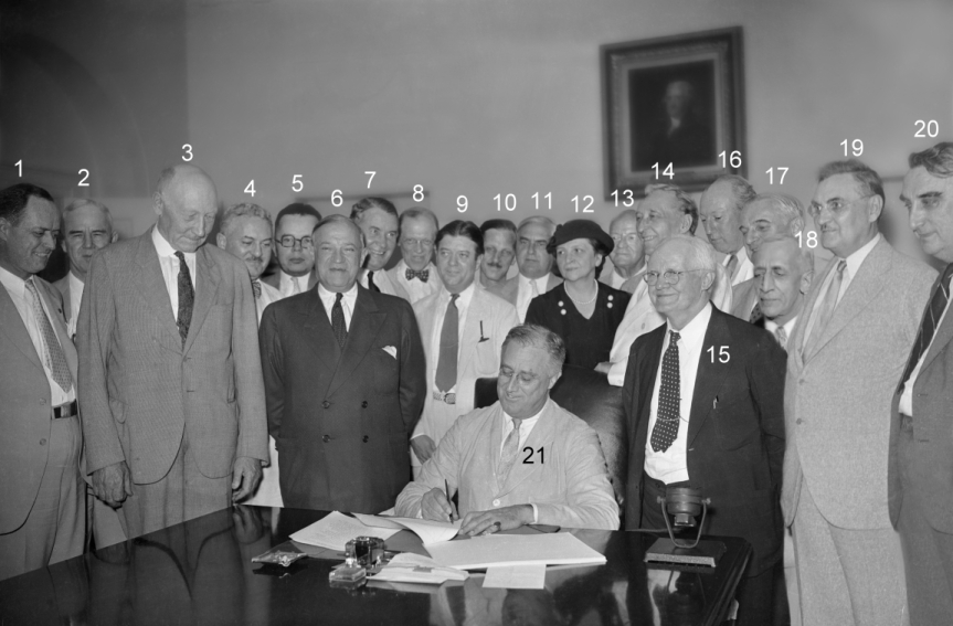 Composite photo of people at FDR's signing of Social Security Act -- SSA image