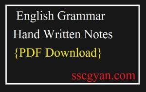 English Grammar Hand Written Notes