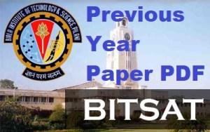Bitsat Previous Year Paper PDF Download