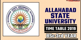 Allahabad State University BSc 3rd Year Time Table 2019