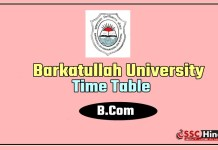 Barkatullah University B.Com 1 2 First Second Time Table 2019