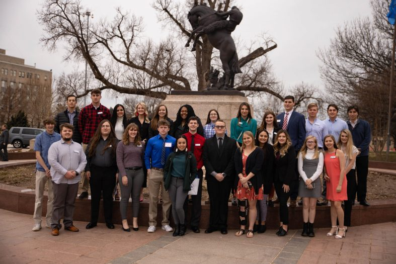 "SSC students gather for a group photo in front of the State Capitol following Feb. 11's ""Higher Ed Day"" program."