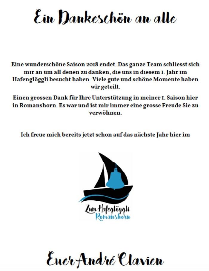 Restaurant Hafeglöggli Romanshorn Danke