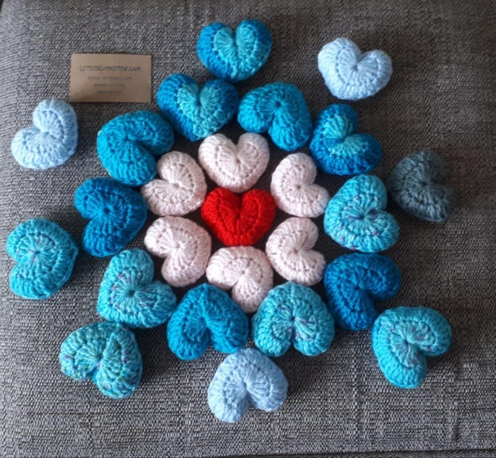 Comfort hearts crafted by our volunteers for customers