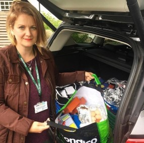 Gemma, one of our fantastic volunteers delivering shopping for customers in Gargrave