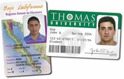 Mexican Voter ID card and university ID card
