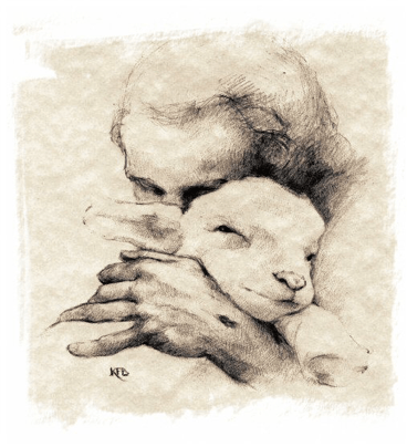 pencil drawing of the Good Shepherd, by Katherine Brown