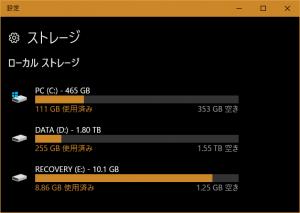 C:ドライブの容量が465GBに