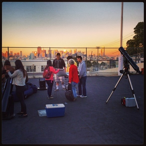 Setting Up for the Downtown Continuation High School Star Party.