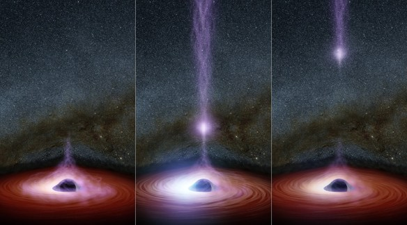 This diagram shows how a shifting feature, called a corona, can create a flare of X-rays around a black hole This diagram shows how a shifting feature, called a corona, can create a flare of X-rays around a black hole. The corona (feature represented in purplish colors) gathers inward (left), becoming brighter, before shooting away from the black hole (middle and right). Astronomers don't know why the coronas shift, but they have learned that this process leads to a brightening of X-ray light that can be observed by telescopes. Credits: NASA/JPL-Caltech