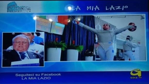26.02.2015 Gold Tv - momenti della trasmissione  (foto della trasmissione M. Piccoli -  Fabio Bianchi in una foto di Bizzi/Trifiletti per Federscherma)